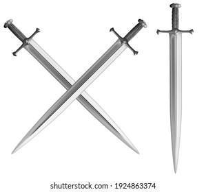Metal classical crossed swords set 3d illustration
