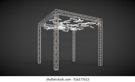 Metal construction illuminated on a dark background 3D illustration 3D rendering