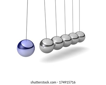 Metal Cradle Newton with one blue ball, isolated on white background. Balancing balls Newton's cradle. 3D visualization.