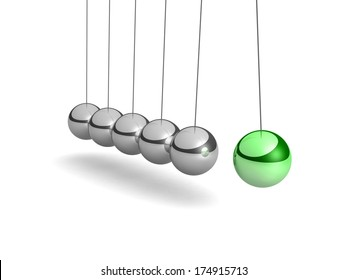 Metal Cradle Newton with one green balloon isolated on white background. Balancing balls Newton's cradle. 3D visualization.