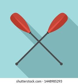 Metal crossed oars icon. Flat illustration of metal crossed oars icon for web design