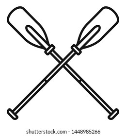 Metal crossed oars icon. Outline metal crossed oars icon for web design isolated on white background