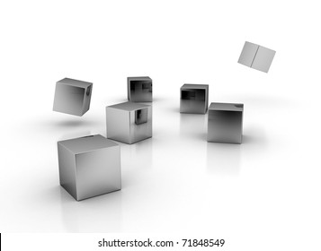 Metal cubes on white
