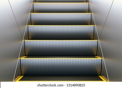 Metal escalator in modern office or public building, shopping mall, airport, railway or metro subway station. Electronic staircase elevator system. 3D illustration