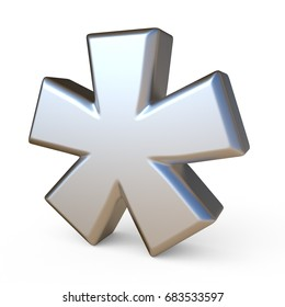 Metal font ASTERISK 3D render illustration isolated on white background