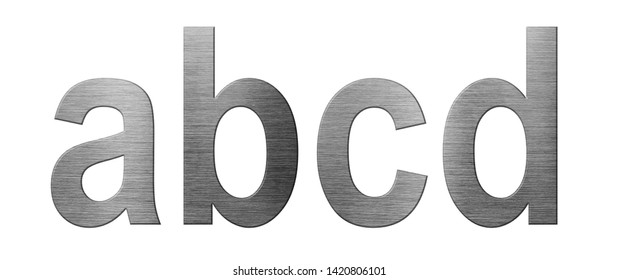 Metal font english alphabet. Letter ABCD from a metal plate isolated on a white background.