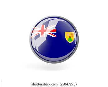 Metal framed round icon with flag of turks and caicos islands