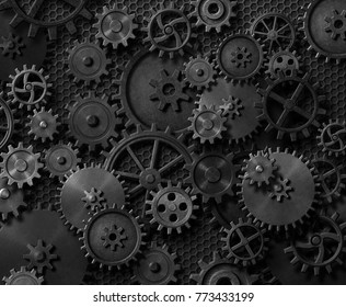 Metal gears and cogwheels steam punk background 3d illustration