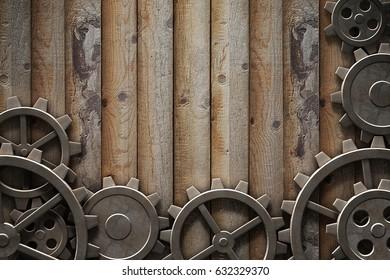 Metal gears mechanism geared 3d illustration