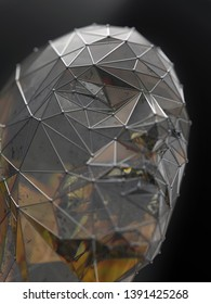 metal glass structure in the shape of a human head, 3d illustration