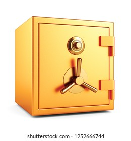 Metal gold color bank security safe with dial code lock isolated on white background. 3D illustration