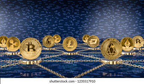 metal golden crypto coins and blockchain concept 3d rendering image