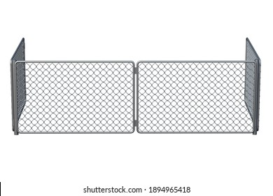 Metal grid fence isolated on white background. 3d rendering