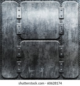 Metal grunge plate (industrial construction template)