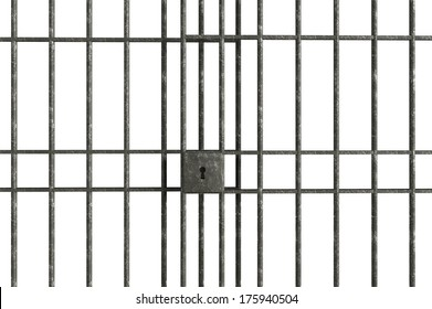 Metal Jail bars isolated on a white background