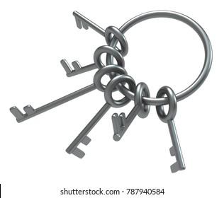 Metal key ring, 3d illustration, horizontal, over white, isolated