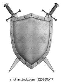 metal knight shield and two crossed blades isolated