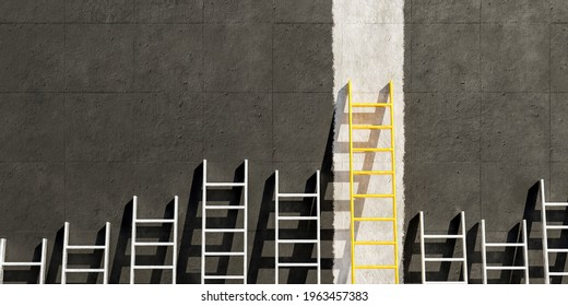 metal ladders on black concrete wall with a golden ladder on a white line. copy space. 3d render