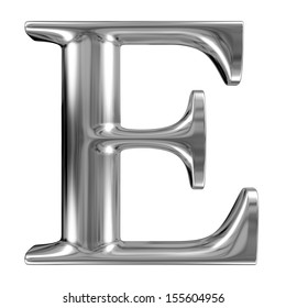 Metal Letter E from chrome solid alphabet.