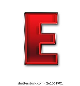 Metal letter E in red isolated on white background