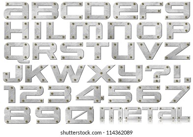 Metal Letters and Numbers / Metal alphabet and numbers with bolts on white background