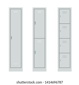 Metal Lockers set. Clipart image isolated on white background