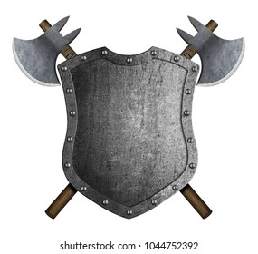 Metal medieval heraldic shield with crossed battle axes 3d illustration