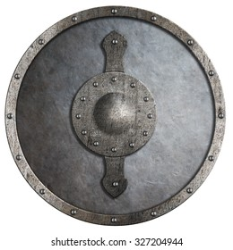 metal medieval round shield illustration isolated