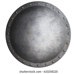metal medieval round shield isolated on white 3d illustration