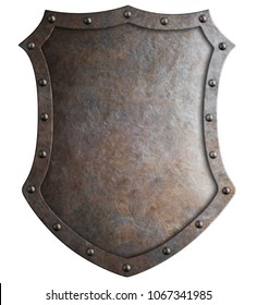 Metal medieval tall shield or coat of arms isolated 3d illustration