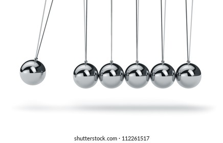 Metal Newton's cradle isolated on white background