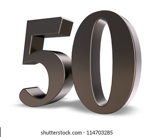 metal number fifty on white background - 3d illustration