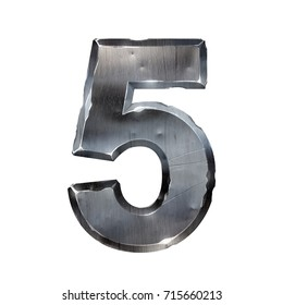 Metal number isolated on white. 3d illustration