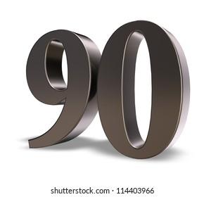 metal number ninety on white background - 3d illustration
