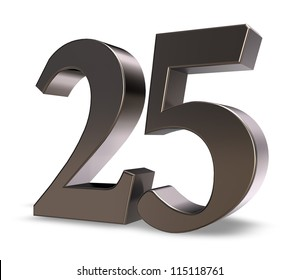 metal number twenty five on white background - 3d illustration