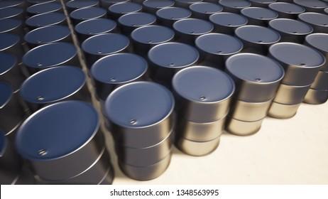 Metal oil barrel on sand 3d render