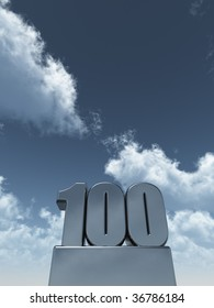 metal one hundred - 100 - in front of cloudy blue sky - 3d illustration