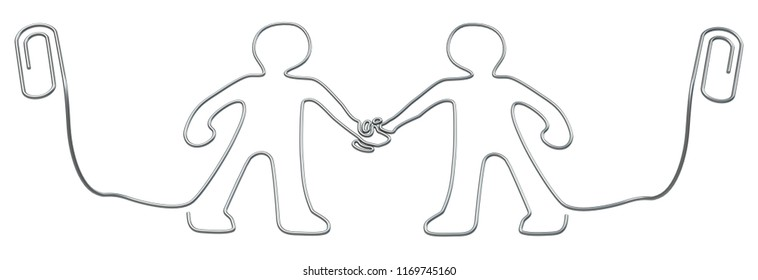 Metal paperclip figures handshake office supplies isolated, 3d illustration, horizontal, over white