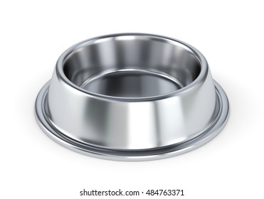 Metal pet bowl for dogs or cats isolated on white background. 3D illustration