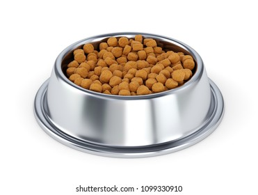 Metal pet bowl with dry food for dogs or cats isolated on white background. 3D illustratin