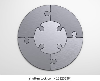 metal pieces of puzzle to place concepts with clipping path