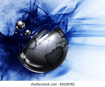 metal planet on an abstract grunge background