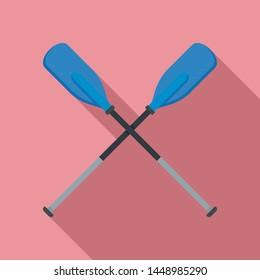 Metal plastic oars icon. Flat illustration of metal plastic oars icon for web design
