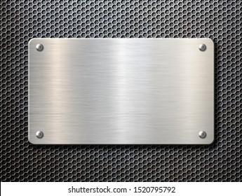 metal plate over rustic background 3d illustration