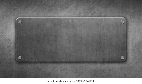 Metal plate with rivets on steel background. Great template for design. 3D illustration