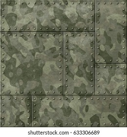 metal plates with camouflage 3d illustration