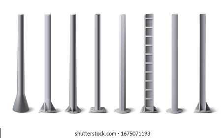 Metal poles. Steel construction pole, aluminum pipes and metal column  illustration set. Bundle of metallic vertical pillars, posts, rails for upright support in construction and engineering.