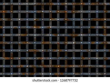 metal prison grate with nails on blackbackground