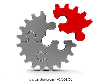 Metal puzzle gears isolated on a white background - team cooperation concept, three-dimensional rendering, 3D illustration