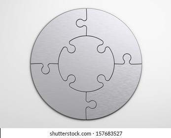 metal puzzle pieces  with clipping path to place concepts